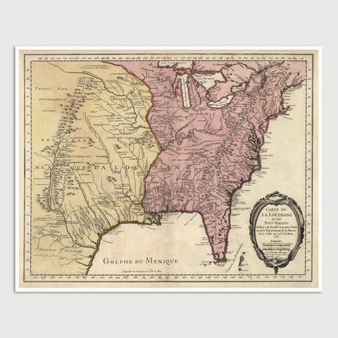 Colonial America and Louisiana Antique Map Print (1750)