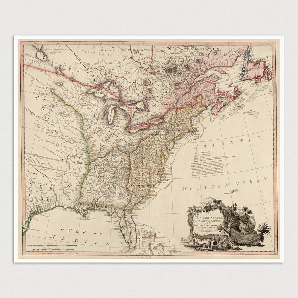 United States Antique Map Print (1793)