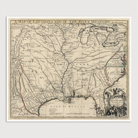 Louisiana and Colonial America Antique Map Print (1721)