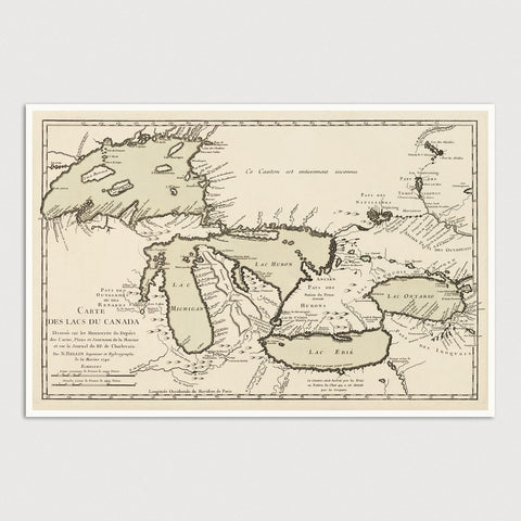Great Lakes Antique Map Print (1742)