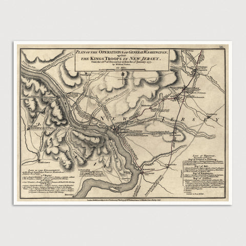 Battle of Trenton Antique Map Print (1777)