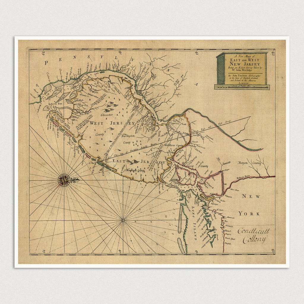 New Jersey Antique Map Print (1706)