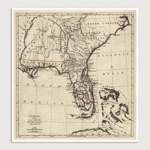 Florida and Southeast US Antique Map Print (1768)