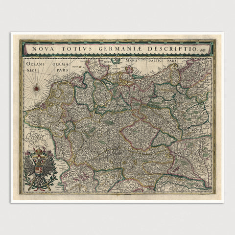 Germany Antique Map Print (1647)
