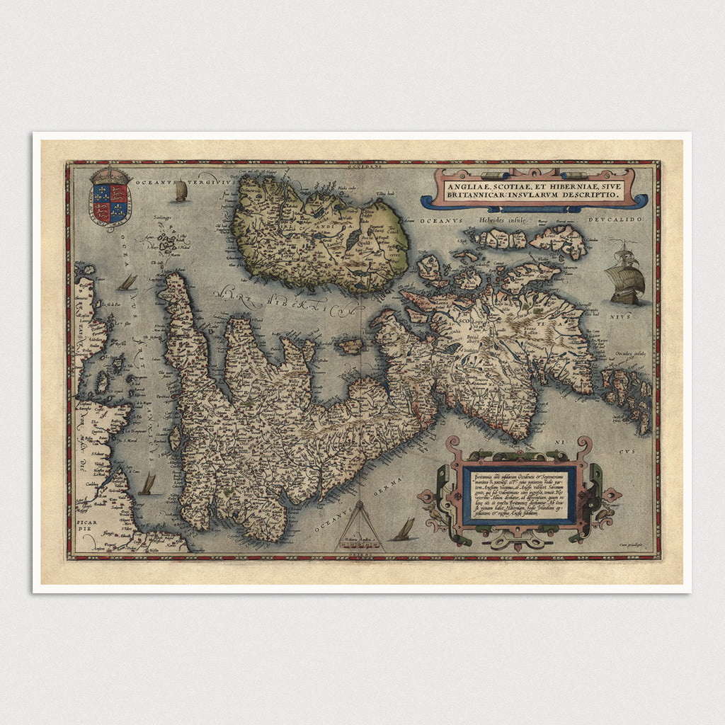 Great Britain and Ireland Antique Map Print (1570)