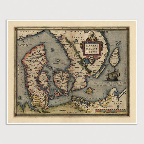 Denmark Antique Map Print (1570)