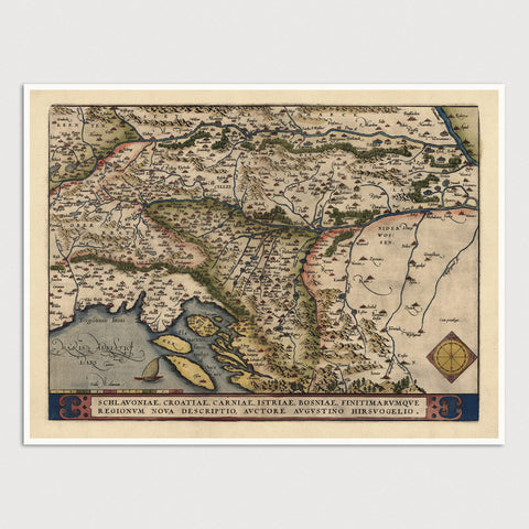 Croatia and Slovenia Antique Map Print (1570)