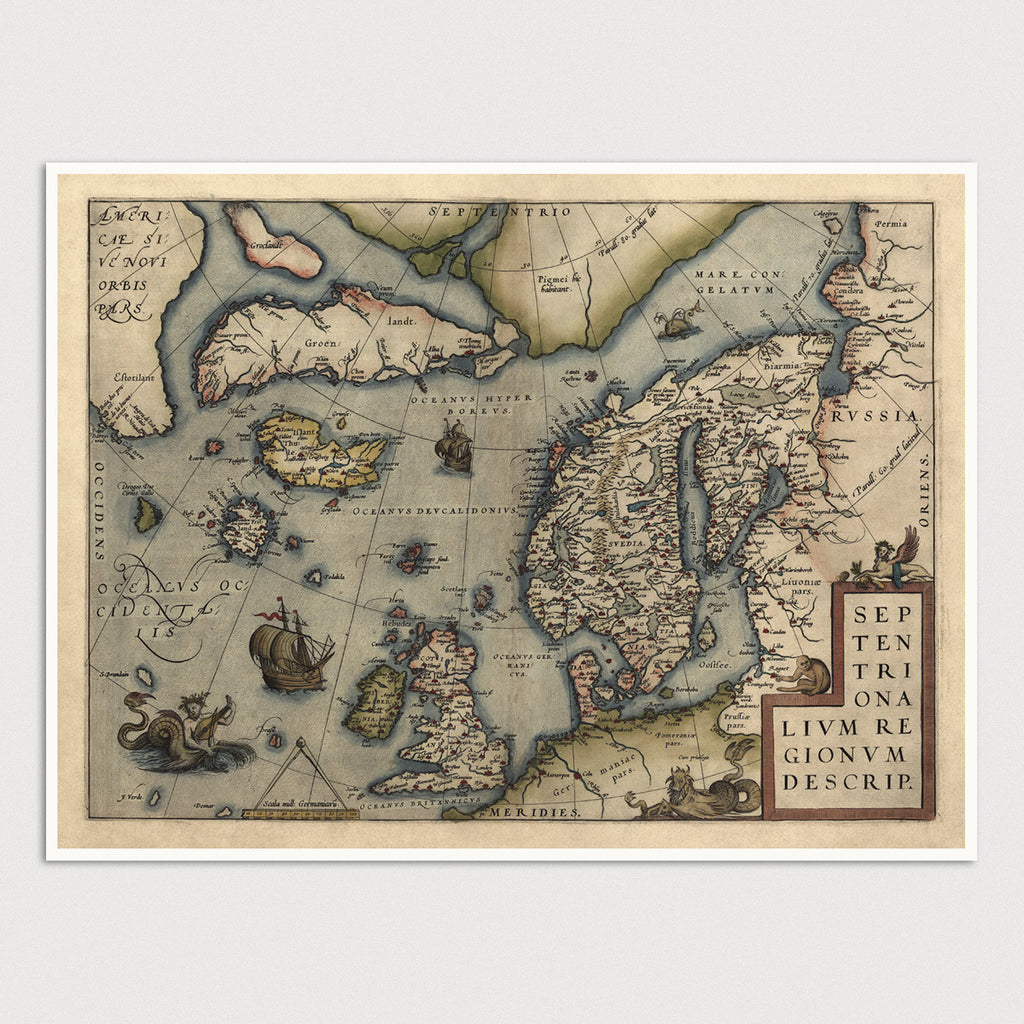 Northern Europe Antique Map Print (1570)