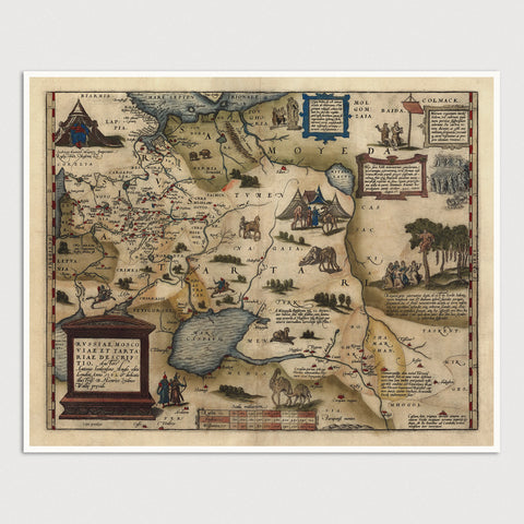 Russia and Central Asia Antique Map Print (1570)