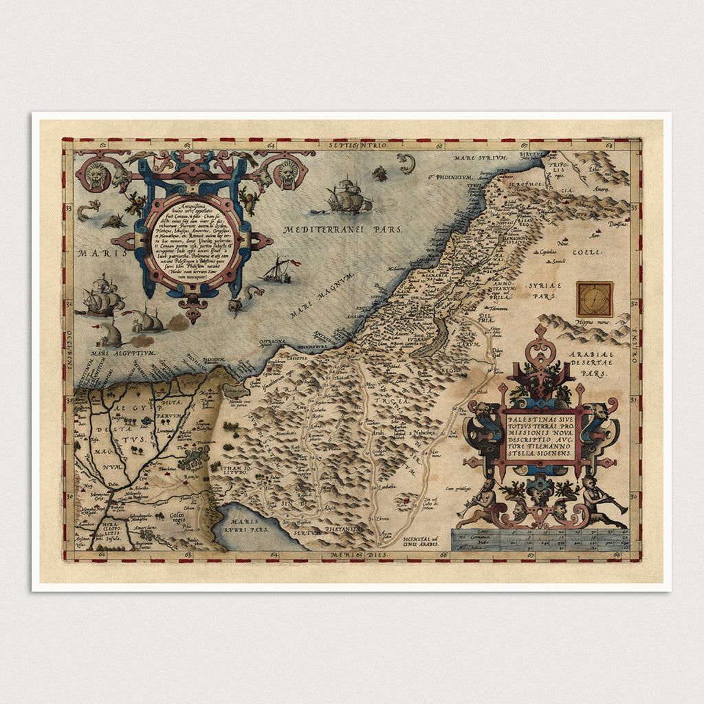 Holy Land Antique Map Print (1570)