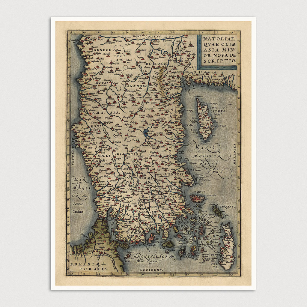 Turkey Antique Map Print (1570)