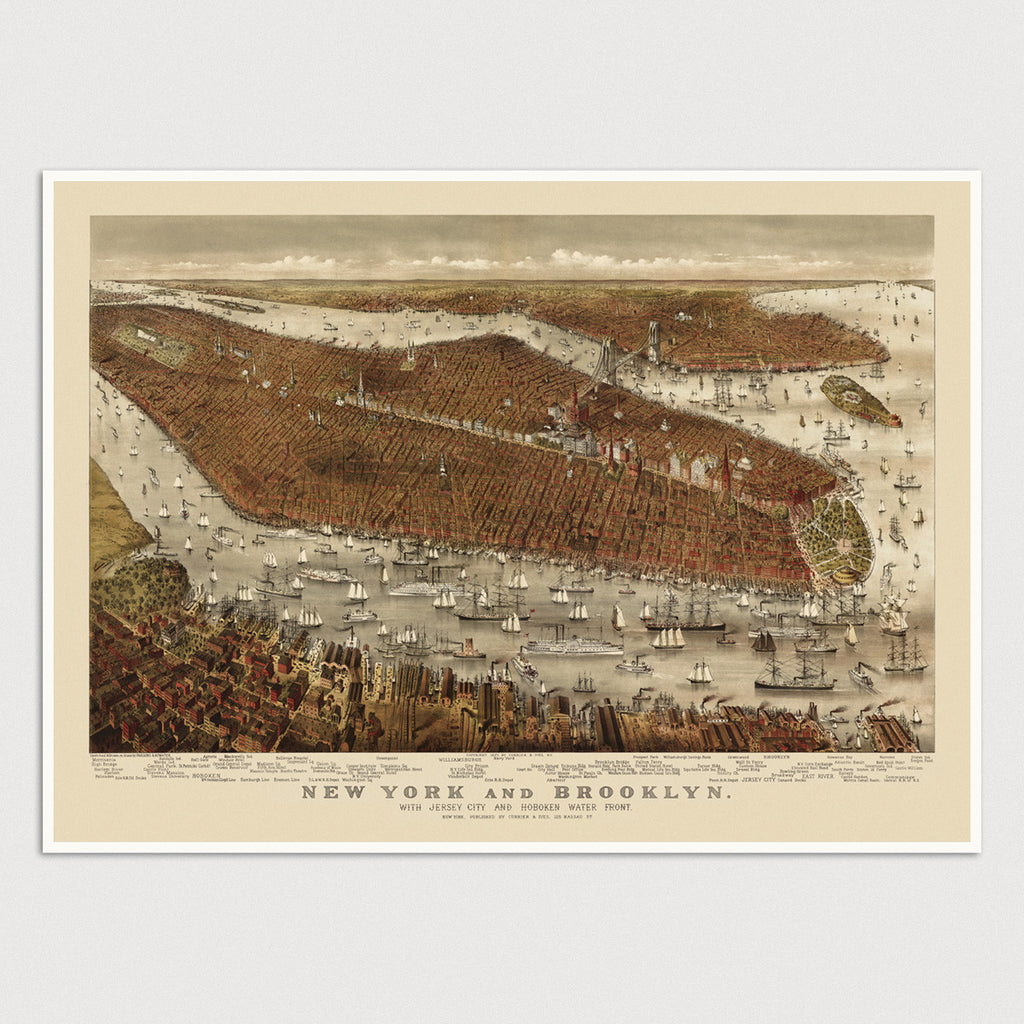 New York City Antique Map Print (c1877)