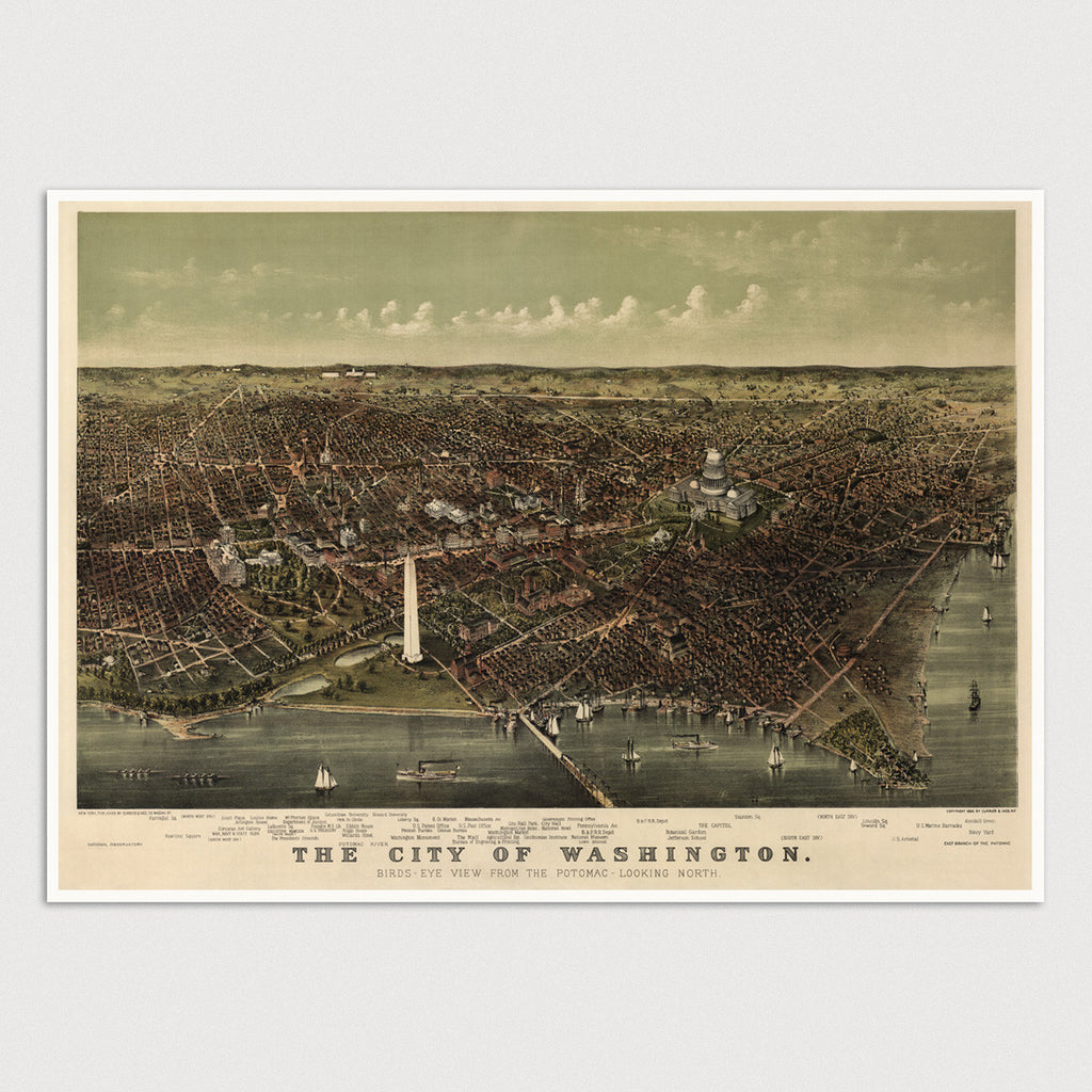 Washington, DC Antique Map Print (c1892)