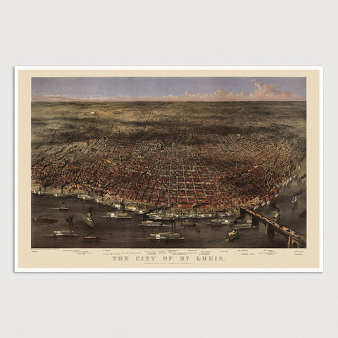 Saint Louis Antique Map Print (1874)