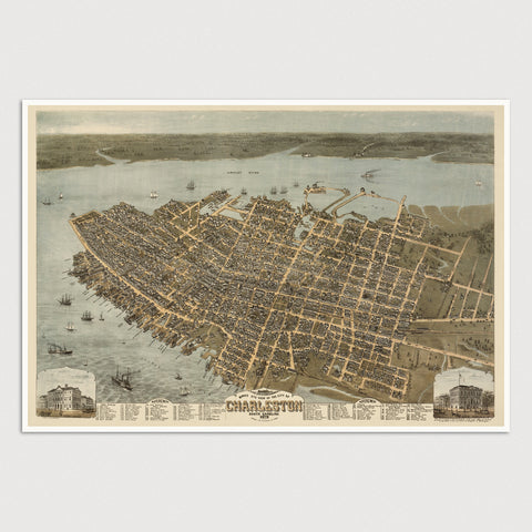 Charleston Antique Map Print (1872)
