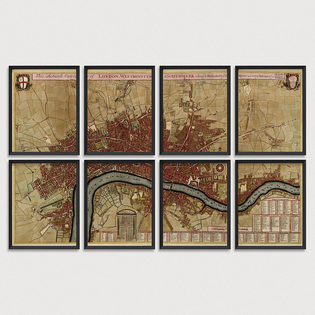 London Antique Map Print Set (1700)