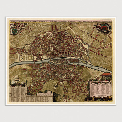 Paris Antique Map Print (c1710)