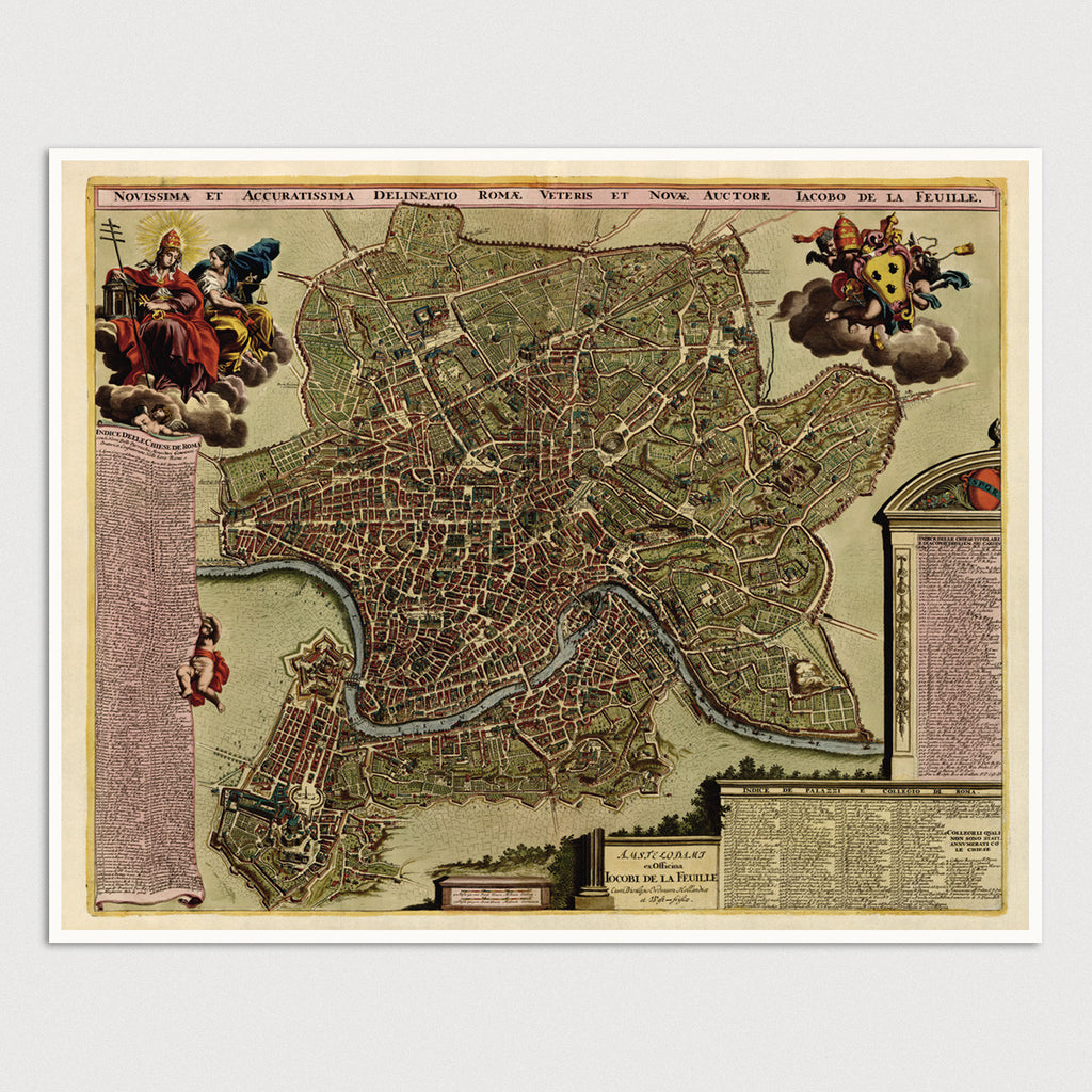 Rome Antique Map Print (c1710)