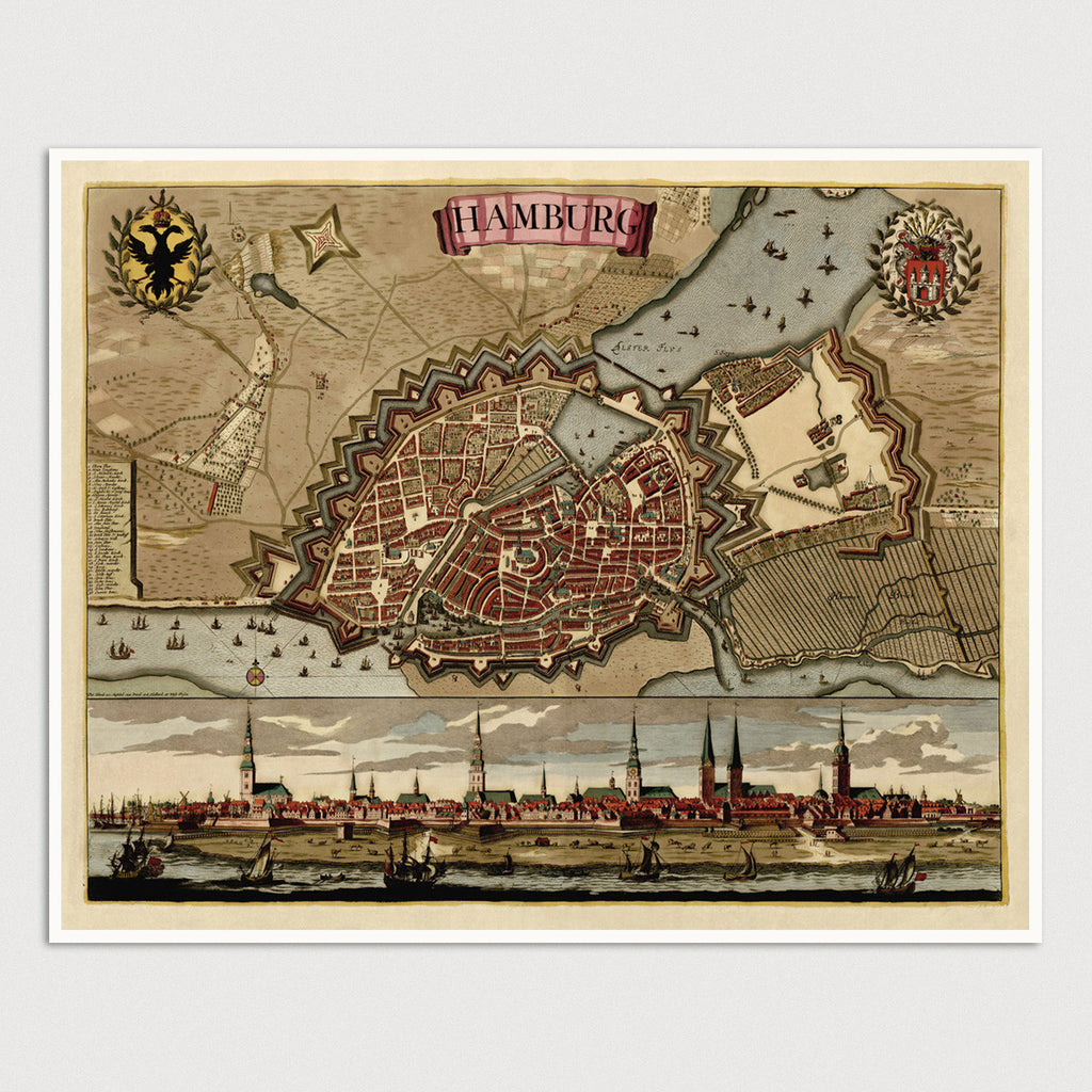 Hamburg Antique Map Print (c1702)