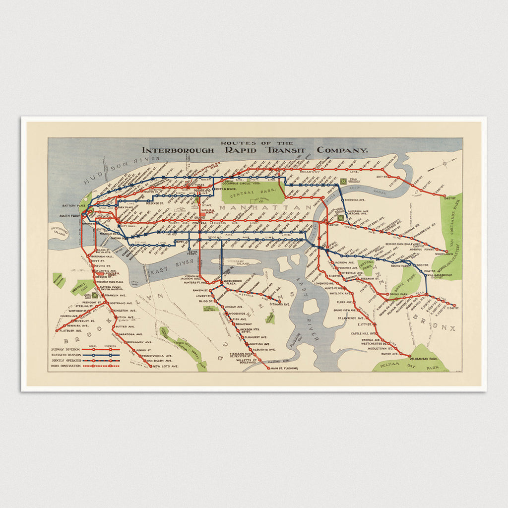 City Subway Map Art.New York City Subway Antique Map Print 1924 Blue Monocle