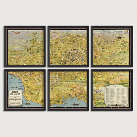 Los Angeles Antique Map Print Set (1932)