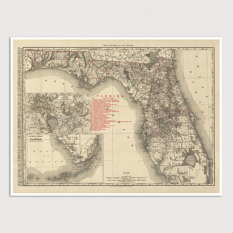 Florida Antique Map Print (1900)