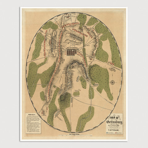 Battle of Gettysburg Antique Map Print (Ditterline) (1863)