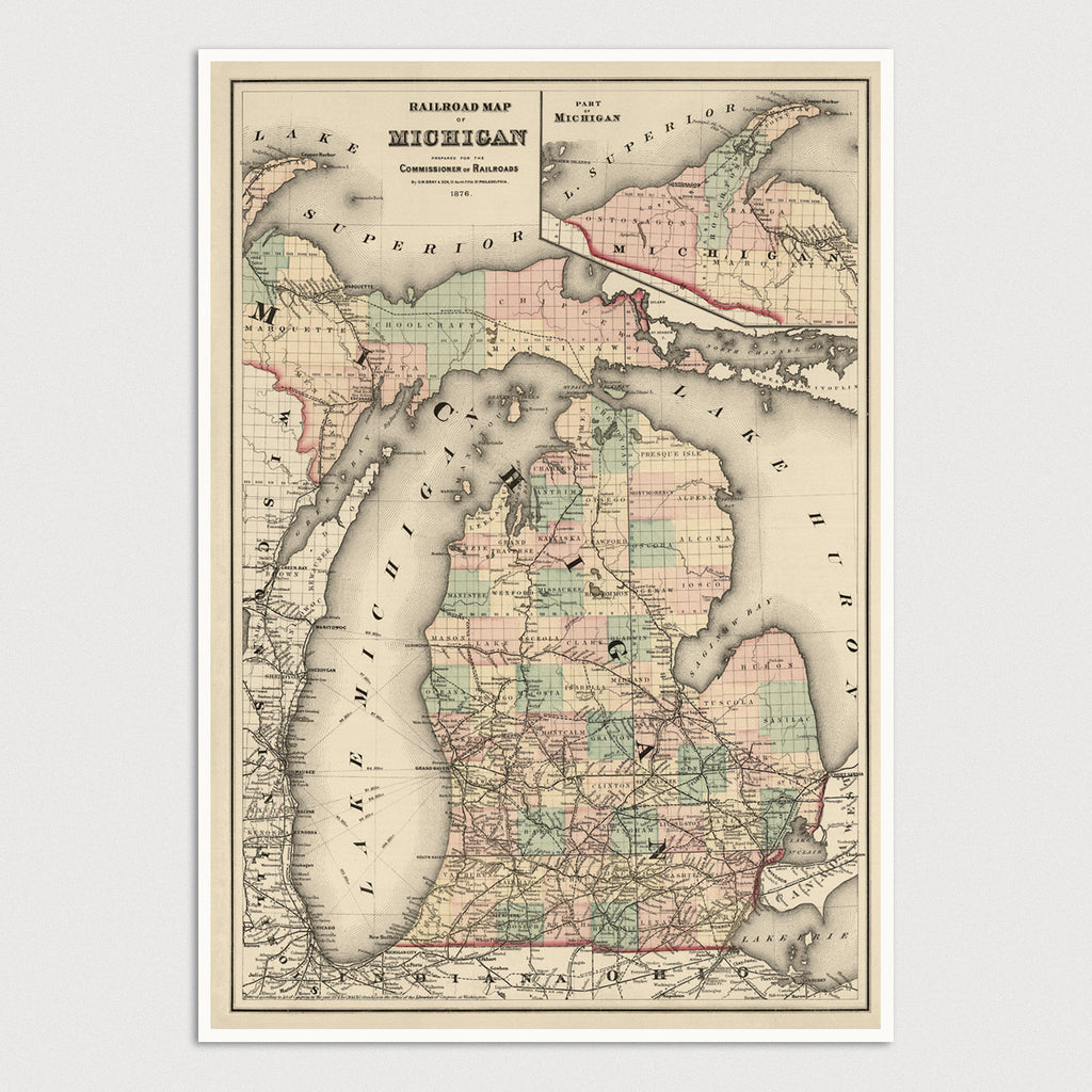 Michigan Antique Map Print (1876)