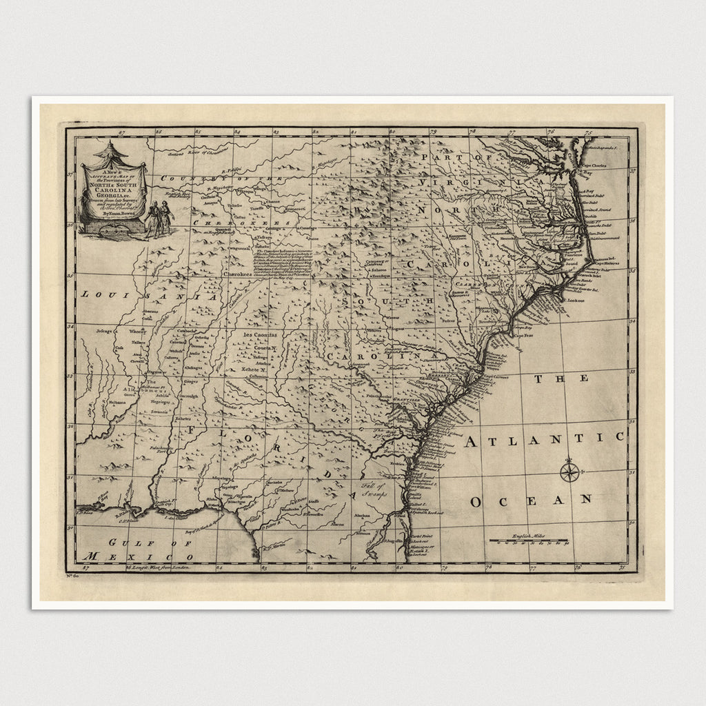 Southeast US Antique Map Print (1752)