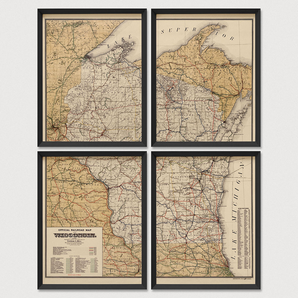 Wisconsin Antique Map Print Set (1900)