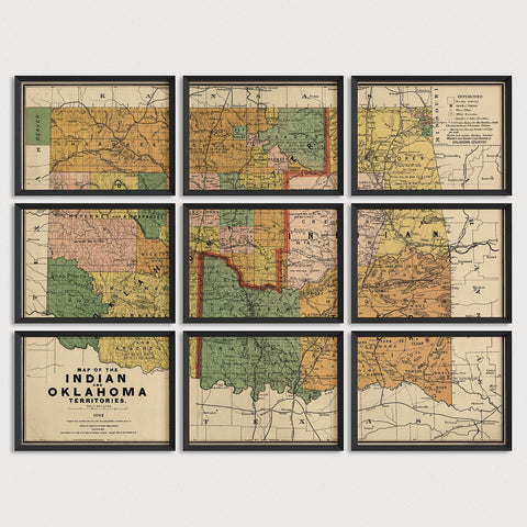 Oklahoma Antique Map Print Set (1892)