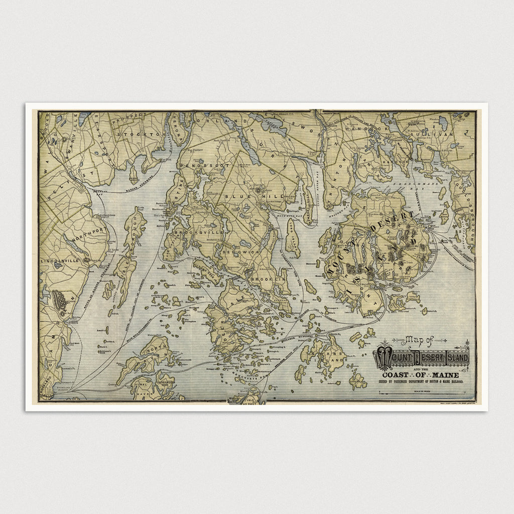 Mount Desert Island and the Coast of Maine Antique Map Print (c1900)