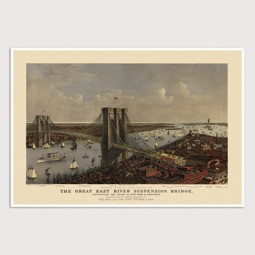 Brooklyn Bridge, New York City Antique Print (1885)