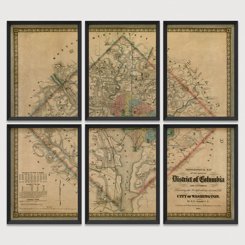 Washington, DC Antique Map Print Set (1862)