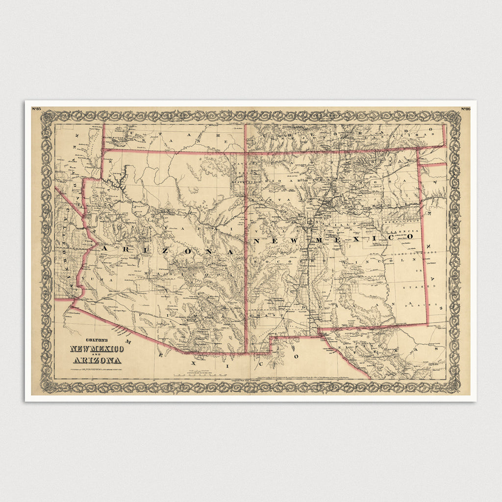 Arizona and New Mexico Antique Map Print (1873)