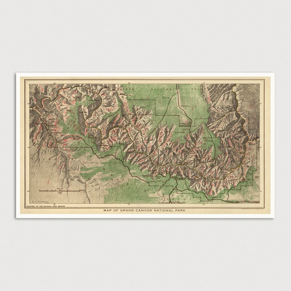 Grand Canyon National Park Antique Map Print (1926)