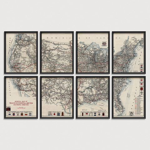 United States Antique Map Print Set (1918)