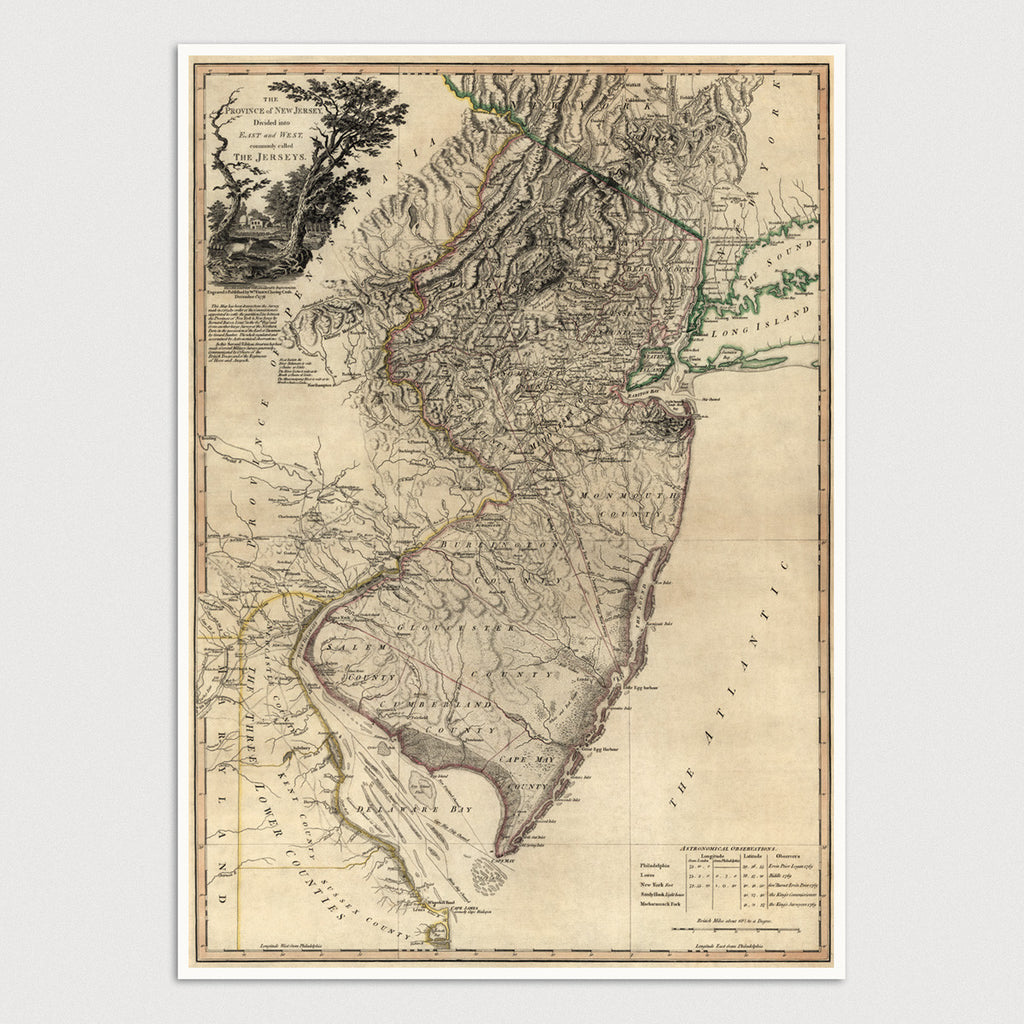 New Jersey Antique Map Print (1778)