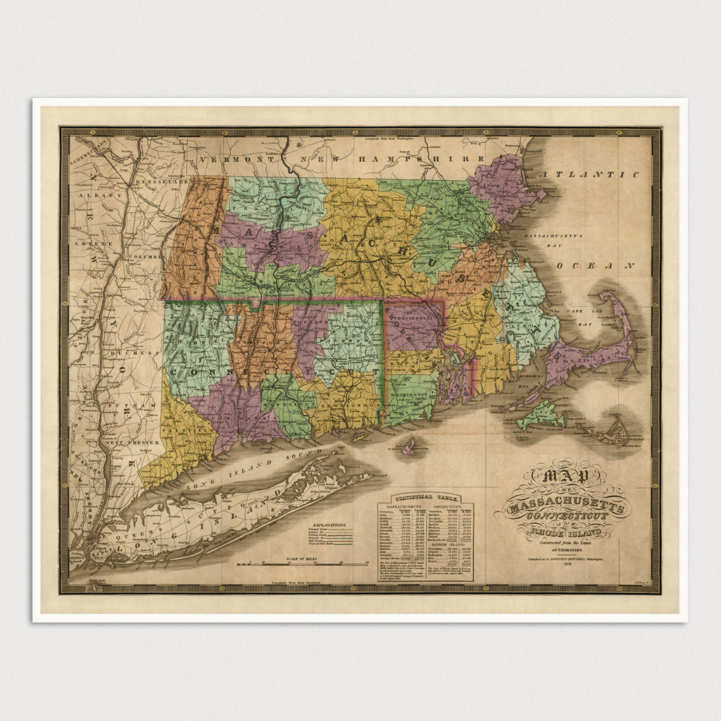 Connecticut, Massachusetts and Rhode Island Antique Map Print (1831)