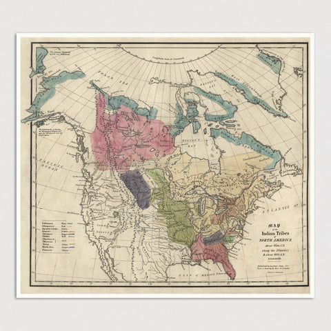 Indian Tribes of North America Antique Map Print (1836)