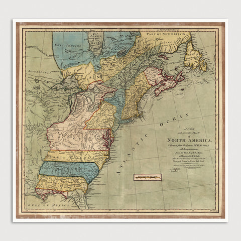 Colonial America Antique Map Print (1771)
