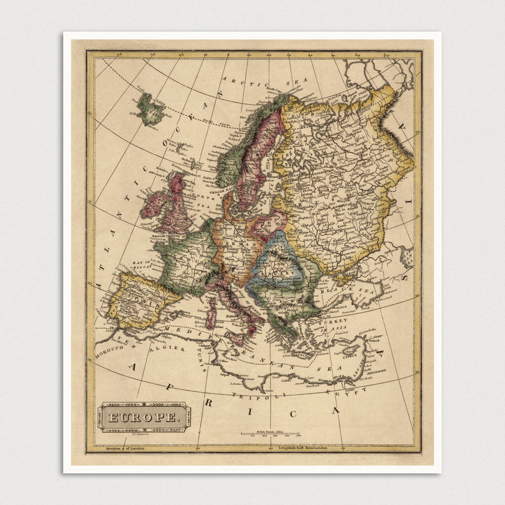 Europe Antique Map Print (c1817)