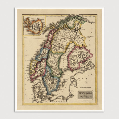 Finland, Norway and Sweden Antique Map Print (c1817)