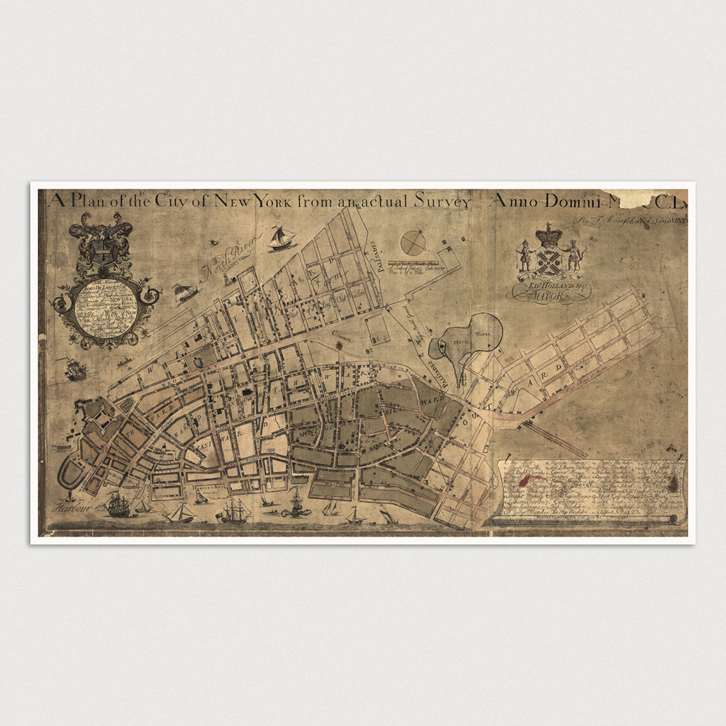 New York City Antique Map Print (c1755)