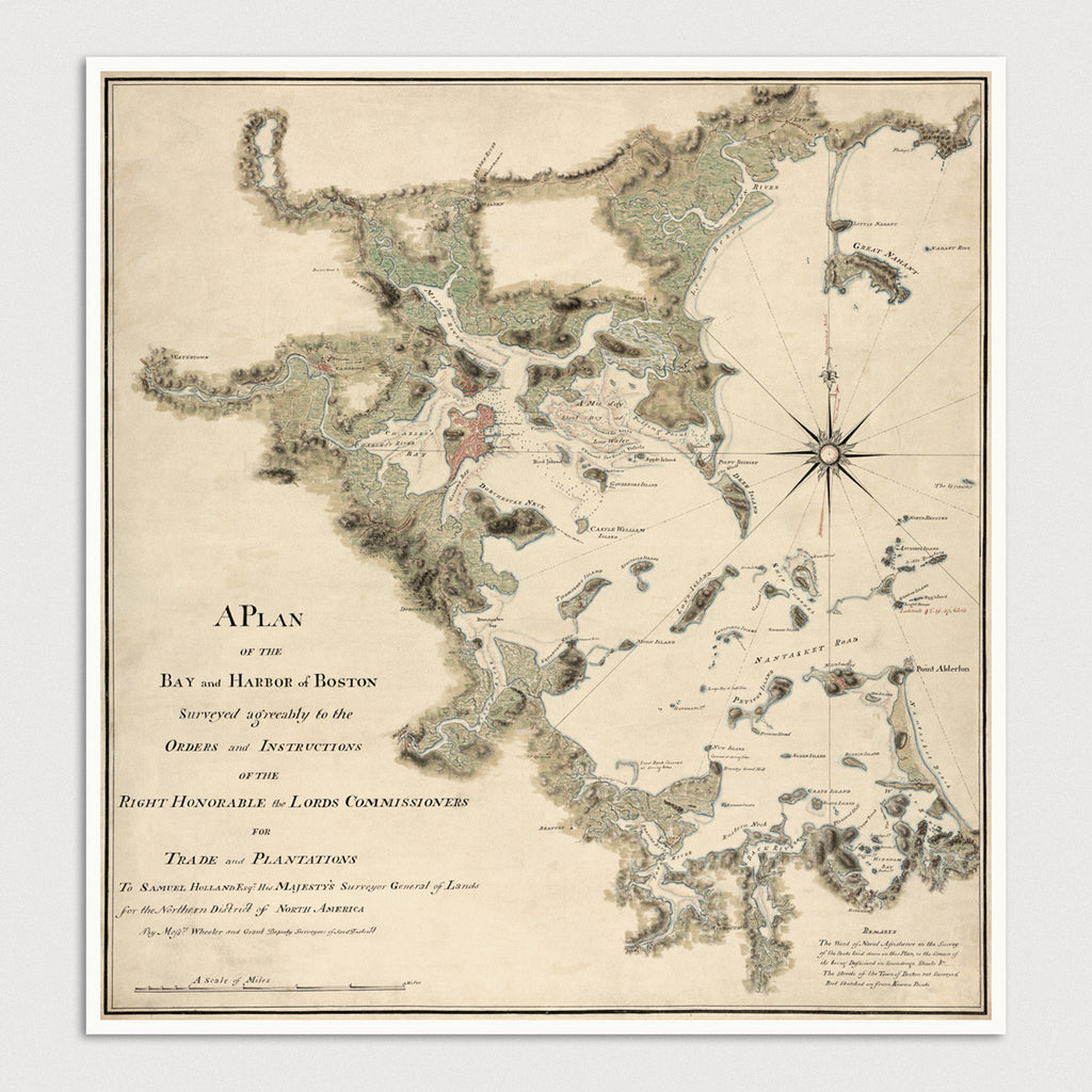 Boston Harbor and Bay Antique Map Print (c1775)