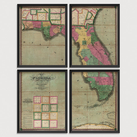 Florida Antique Map Print Set (1829)
