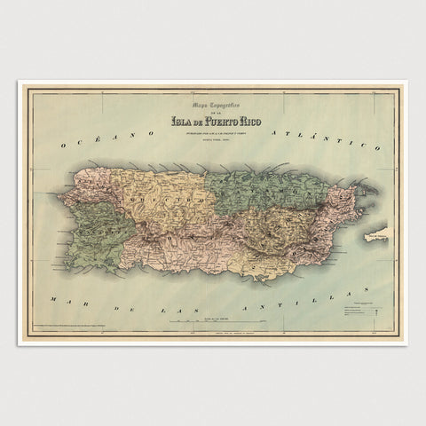 Puerto Rico Antique Map Print (1886)