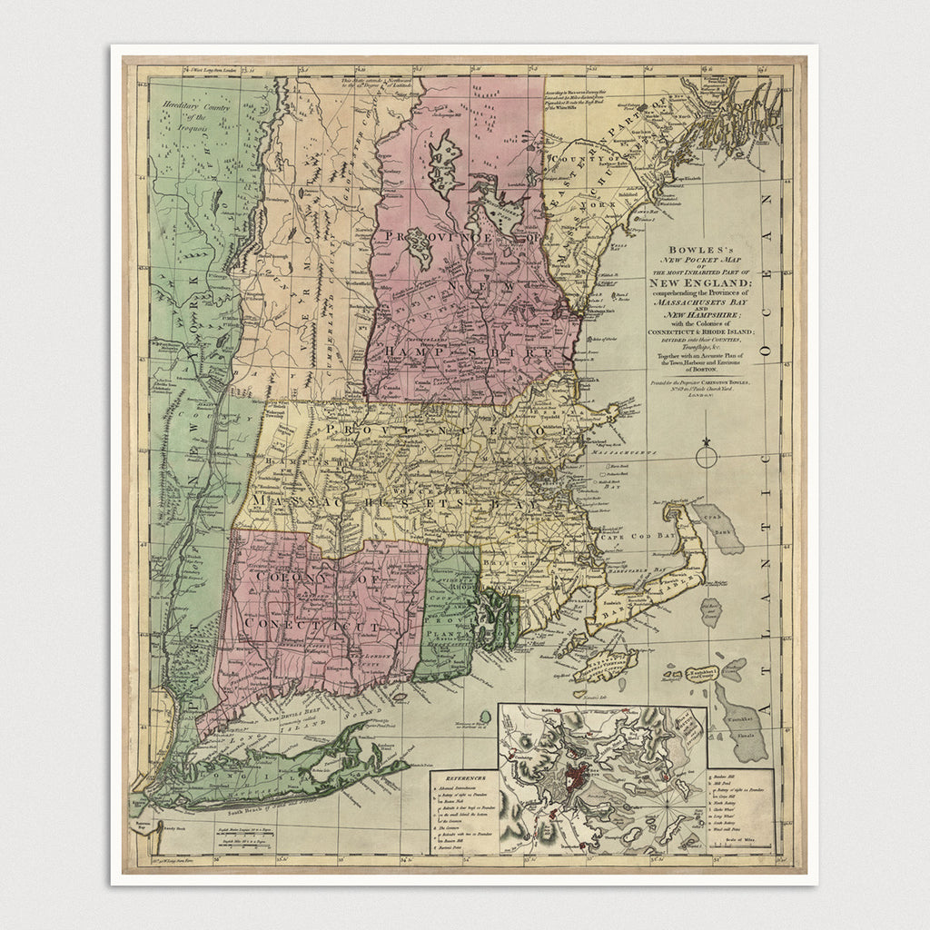 New England Antique Map Print (c1780)