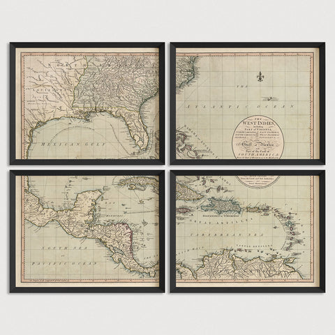 Caribbean, Central America and Southeast US Antique Map Print Set (1783)