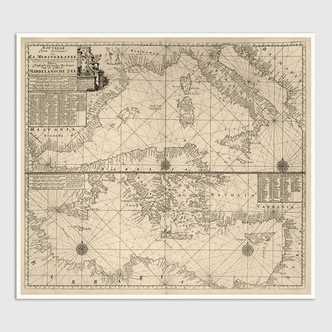 Mediterranean Antique Map Print (c1705)